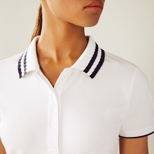 Tory Burch Performance Pique Pleated-Collar Polo